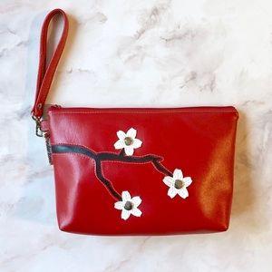 Custom Red Vegan Leather Purse, Handmade